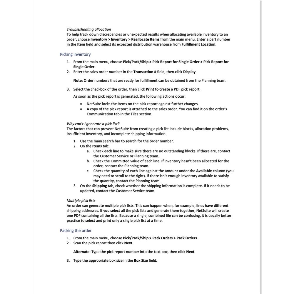 Supply chain management document